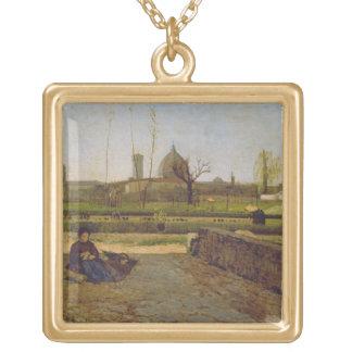 Everyday Scene, near Florence, c.1865 Square Pendant Necklace