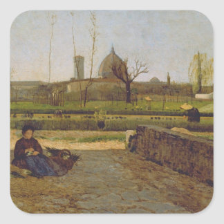 Everyday Scene, near Florence, c.1865 Square Sticker