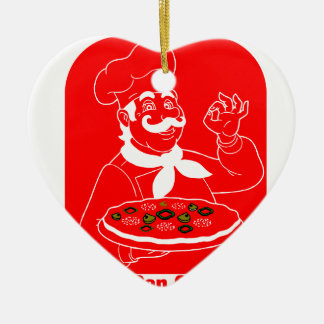 Everyone Can Cook Pizza Ceramic Heart Ornament