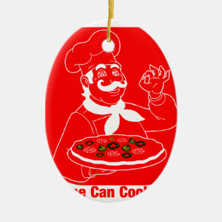 Everyone Can Cook Pizza Ceramic Oval Ornament