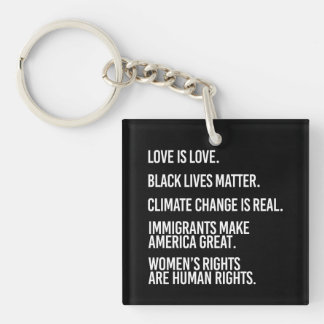 Everyone deserves human rights and climate change  Single-Sided square acrylic keychain