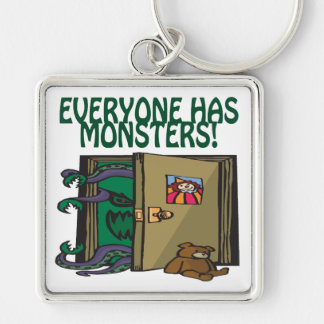 Everyone Has Monsters Silver-Colored Square Keychain