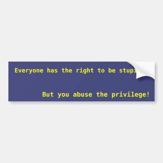 Everyone has the right to be stupid bumper sticker