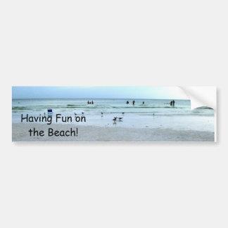 Everyone Having Fun On The Beach Car Bumper Sticker