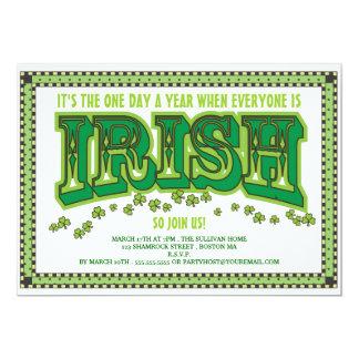 "Everyone is Irish St. Patrick's Day Party 5"" X 7"" Invitation Card"