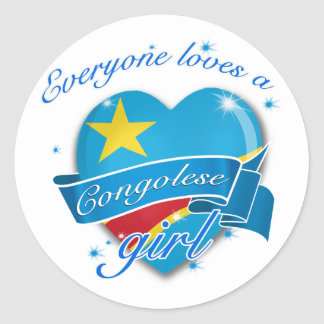 Everyone Loves A Congolese Girl Round Sticker