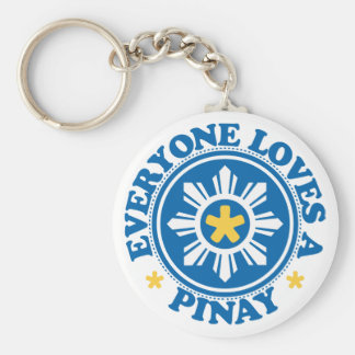 Everyone Loves a Pinay - Blue Basic Round Button Keychain