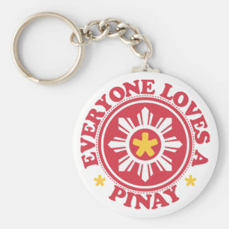 Everyone Loves a Pinay - Red Basic Round Button Keychain