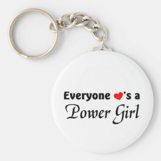 Everyone loves a Power Girl Basic Round Button Keychain
