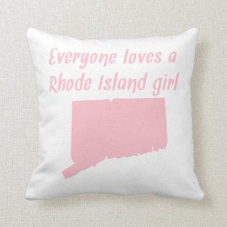 Everyone Loves A Rhode Island Girl Throw Pillow