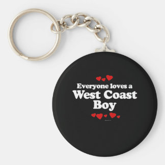 Everyone Loves a West Coast Boy T-shirt Basic Round Button Keychain