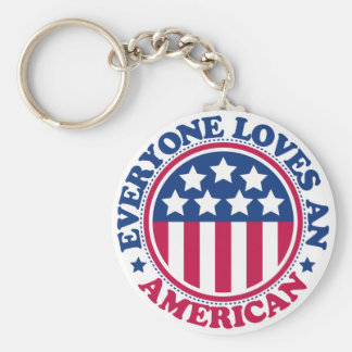 Everyone Loves an American! Basic Round Button Keychain