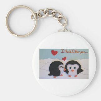 Everyone loves penguins! basic round button keychain