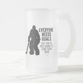 Everyone Needs Goals (Hockey) Frosted Glass Beer Mug