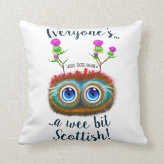 Everyone's A Wee Bit Scottish, Hoots Toots Haggis Throw Pillow