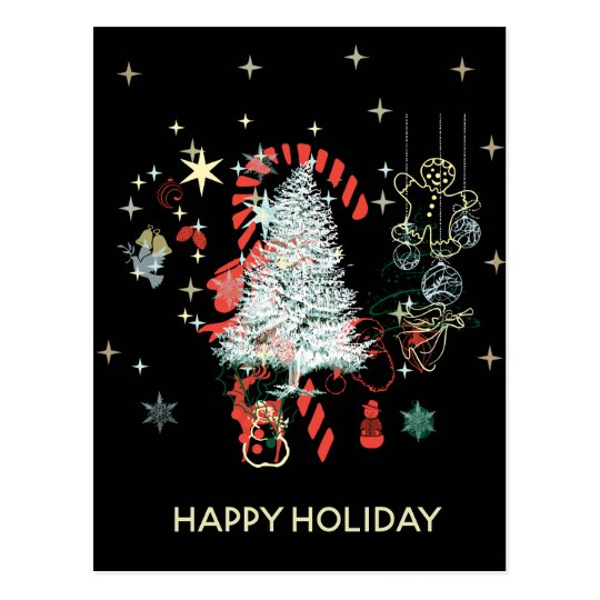 Everything Christmas Candy Cane Trees Black Postcard