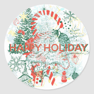 Everything Christmas Red Green White Holiday Classic Round Sticker