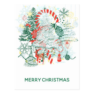 Everything Christmas Red Green White Merry Postcard