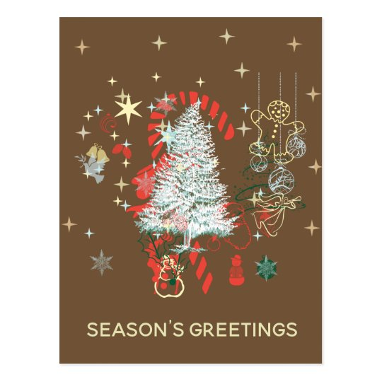 Everything Christmas Season's Greetings Black Postcard