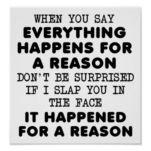 Everything For a Reason Funny Poster