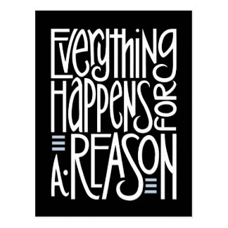 Everything Happens Black Postcard