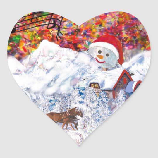 Everything happens during Christmas time Heart Sticker