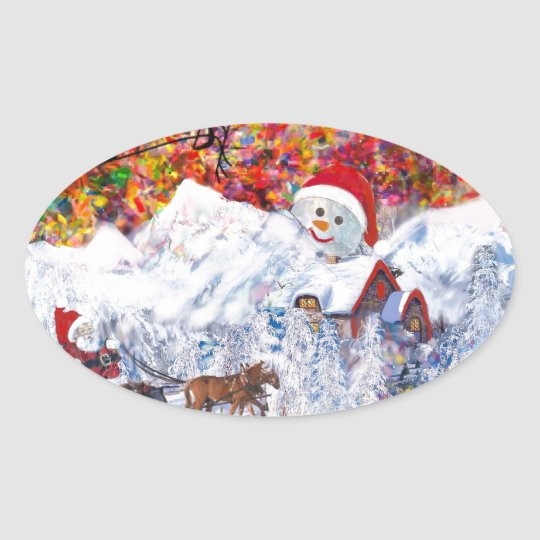 Everything happens during Christmas time Oval Sticker