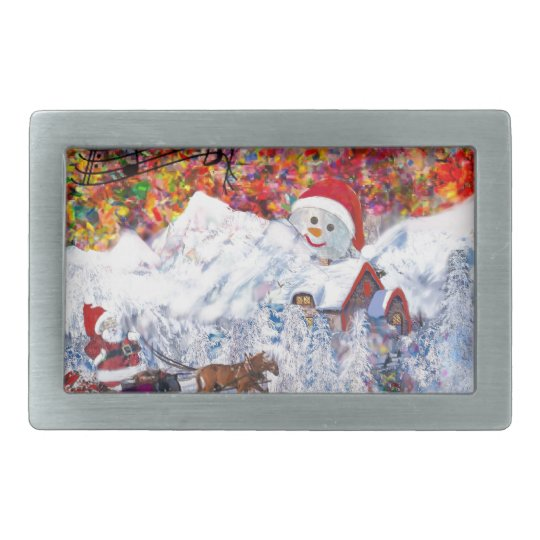Everything happens during Christmas time Rectangular Belt Buckles