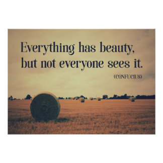 'Everything has beauty...' Confucius wisdom Quote Poster