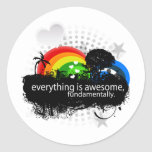 everything is awesome fundamentally. round stickers