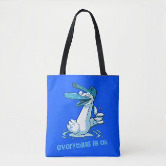 everything is ok funny duck cartoon tote bag
