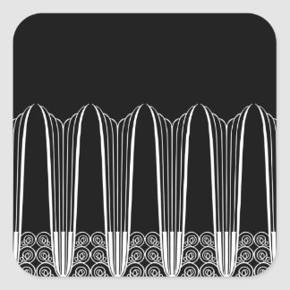 EVE'S BALCONY, Art Deco Ironwork in White on Black Square Sticker