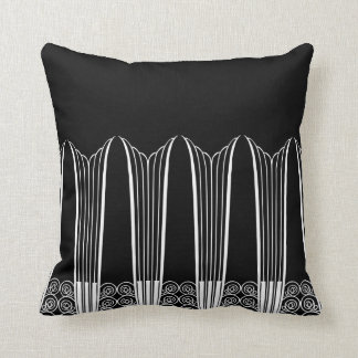 EVE'S BALCONY, Art Deco Ironwork in White on Black Throw Pillow