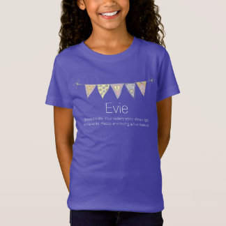 Evie girls name meaning bunting flag t-shirt