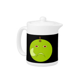 Evil Apple with Scar Halloween Teapot