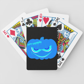 Evil Blue Halloween Pumpkin Bicycle Playing Cards