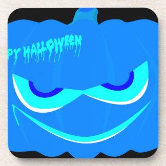 Evil Blue Halloween Pumpkin Coasters
