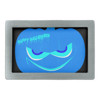Evil Blue Halloween Pumpkin Rectangular Belt Buckle