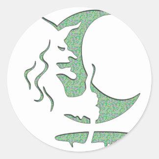 Evil Brewing Witch - Green Spot Invert Design Stickers