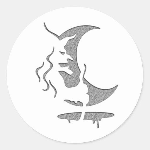 Evil Brewing Witch - Grey Spot Design Round Sticker