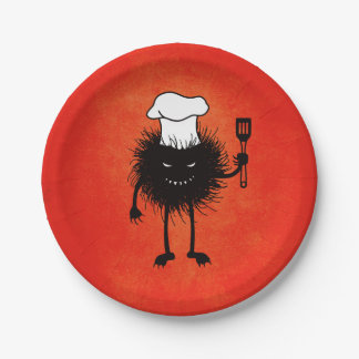 Evil Bug With Chef Hat Loves To Cook Paper Plate