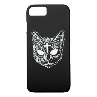 Evil Cat Cross Design Phone Case - Black