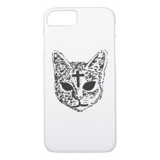 Evil Cat Cross Design Phone Case - White