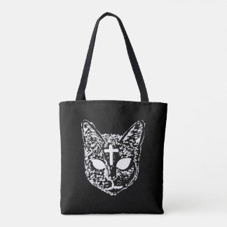 Evil Cat Cross Design Tote Bag - Black