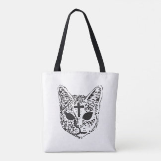 Evil Cat Cross Design Tote Bag - White