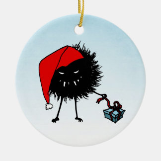 Evil Christmas Bug Opening Present Ceramic Ornament