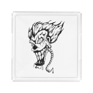 Evil clown square serving tray