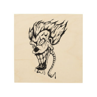 Evil clown Wood Wall Art