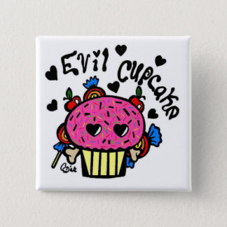 evil cupcake 2 inch square button