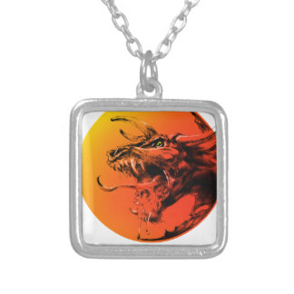 Evil dragon silver plated necklace